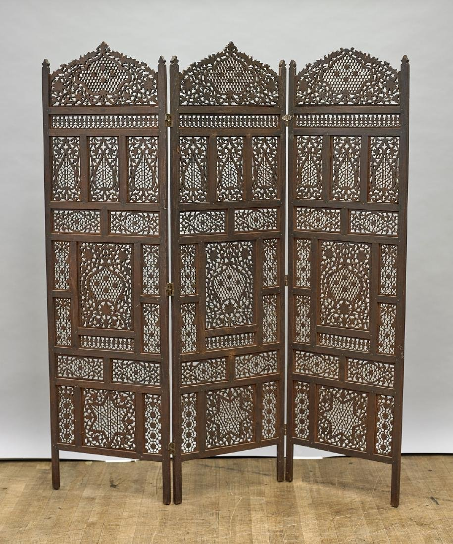 Indian Carved Wood Three-Panel Screen