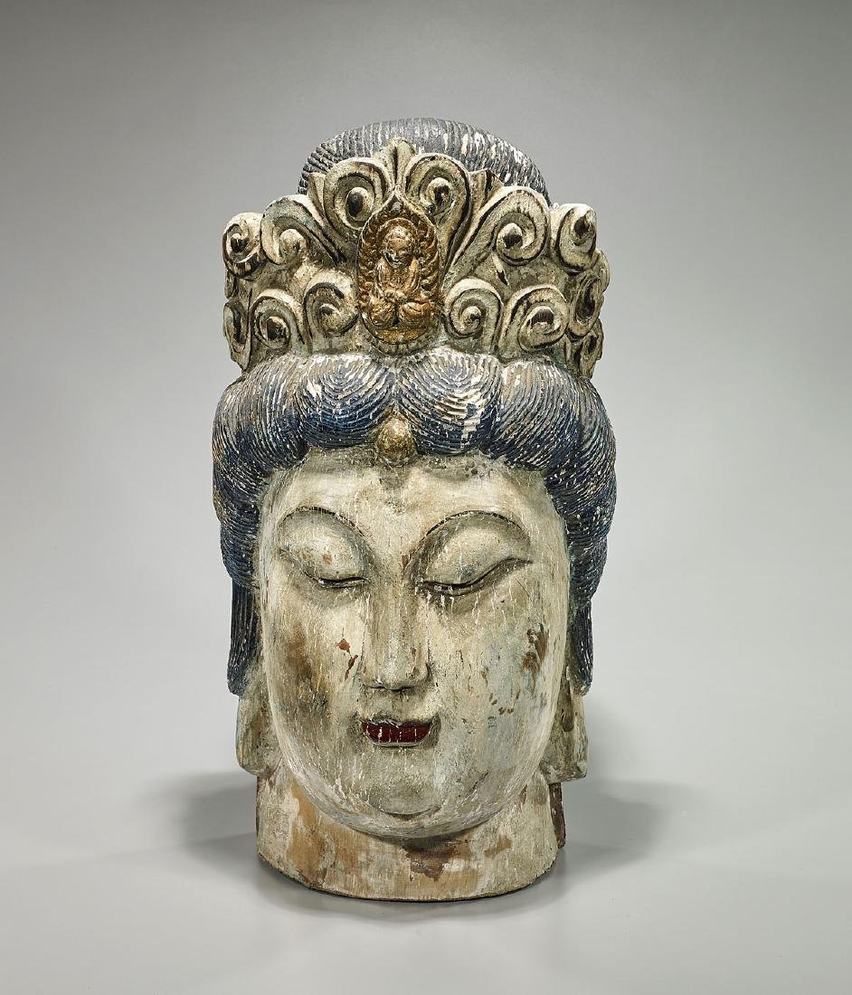 Large Old Chinese Carved Wood & Polychrome Head of
