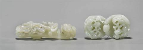 Two Chinese Carved Jade Belt Hooks
