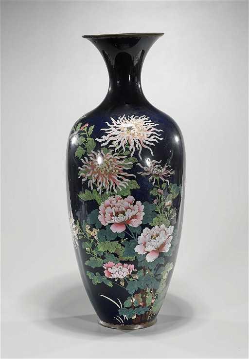 Tall Antique Japanese Cloisonne Vase