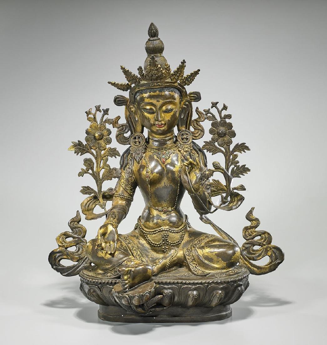 Large & Elaborate Chinese Gilt Bronze Seated Deity