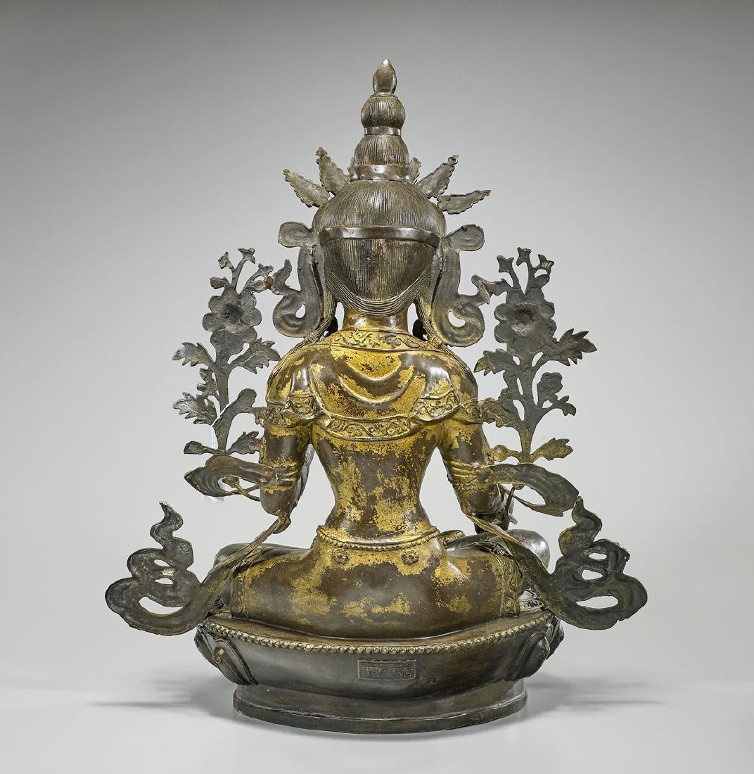 Large & Elaborate Chinese Gilt Bronze Seated Deity - 2