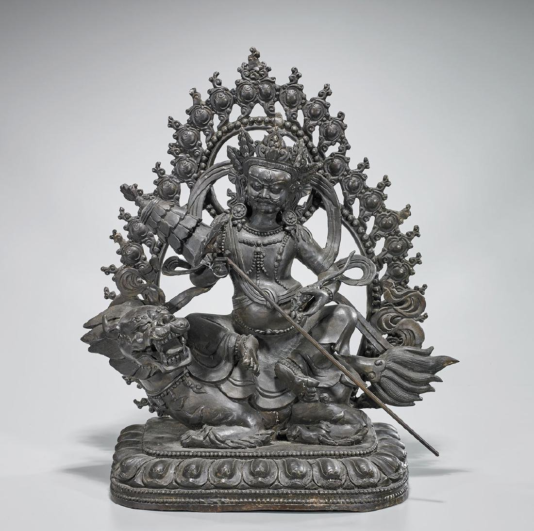 Large Tibeto-Chinese Bronze Seated Deity