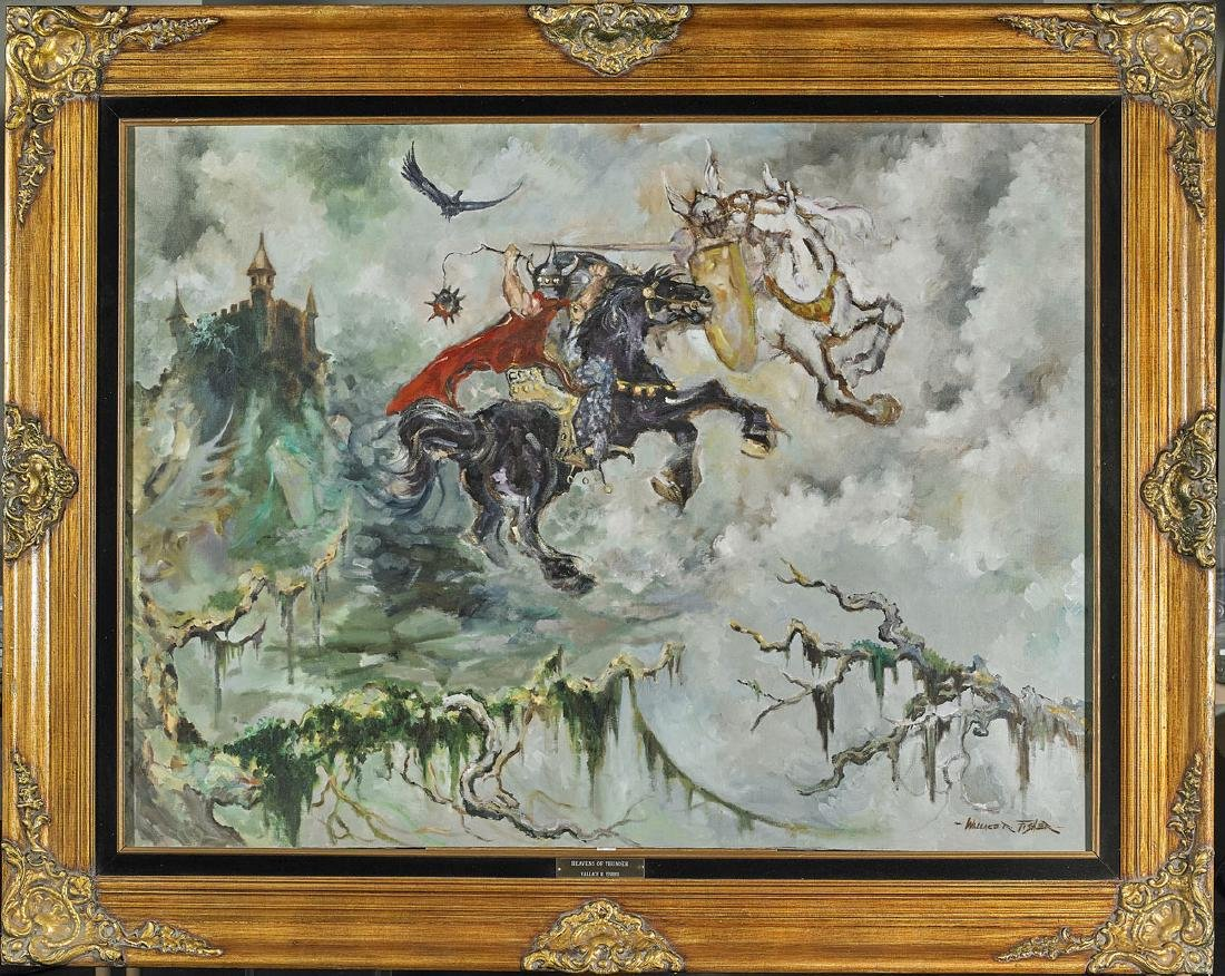 Massive Oil Painting on Canvas By Wallace R. Fisher