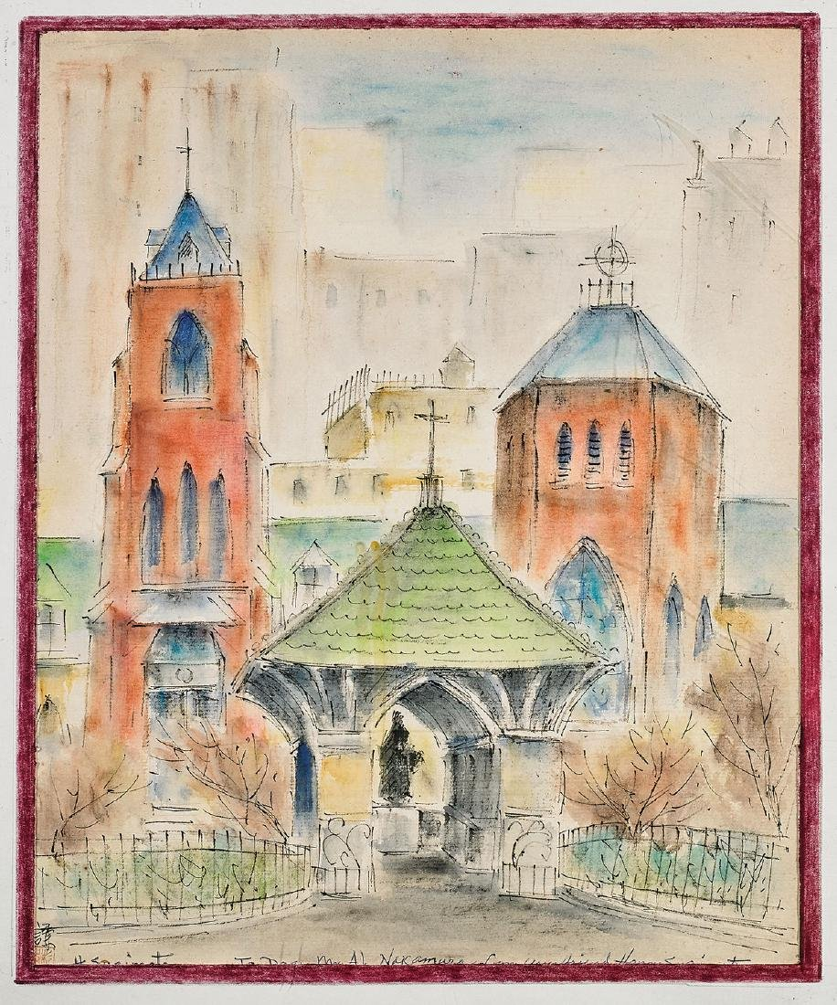 Watercolor By Henry Sugimoto: Church