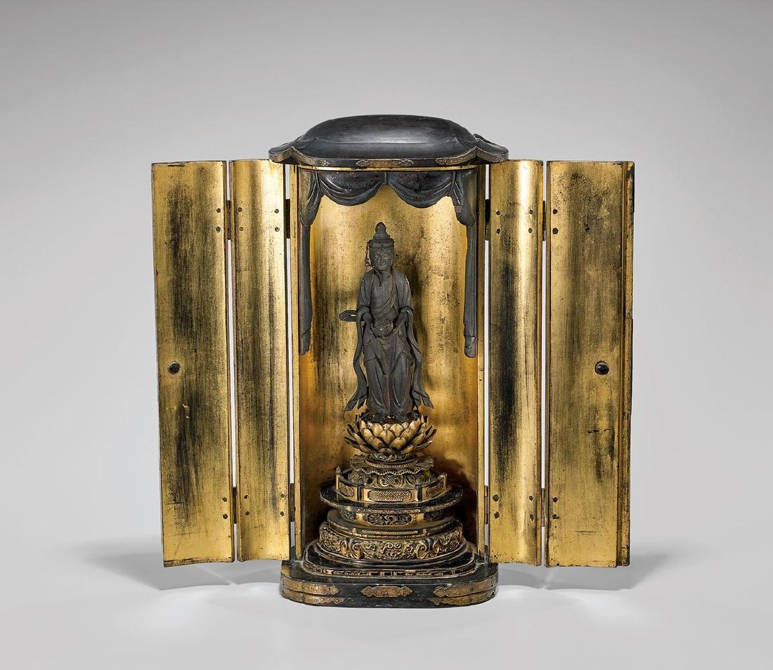 Antique Japanese 'Zushi' Shrine: Kannon