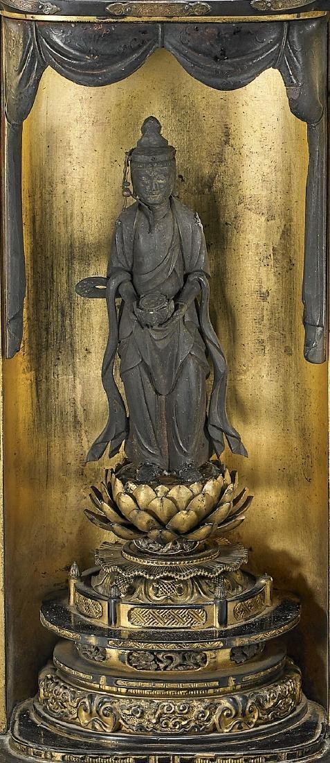 Antique Japanese 'Zushi' Shrine: Kannon - 2