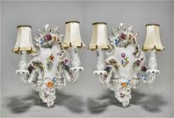 Pair German Enameled Porcelain TwoLight Wall Sconces