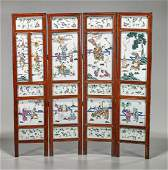 Antique Chinese Four-Panel Enameled Porcelain Screen