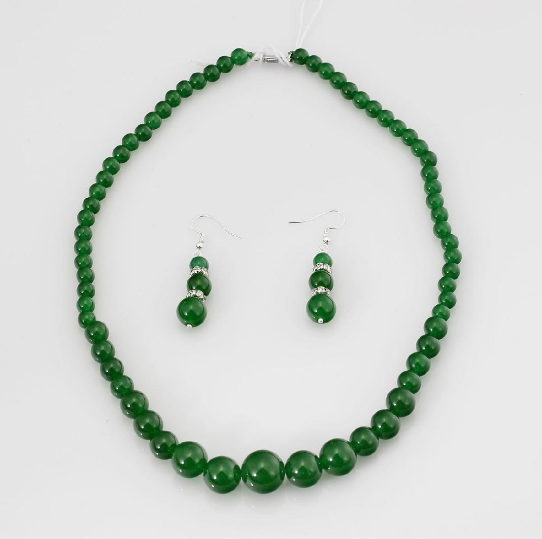 Green Stone Bead Jewelry Suite