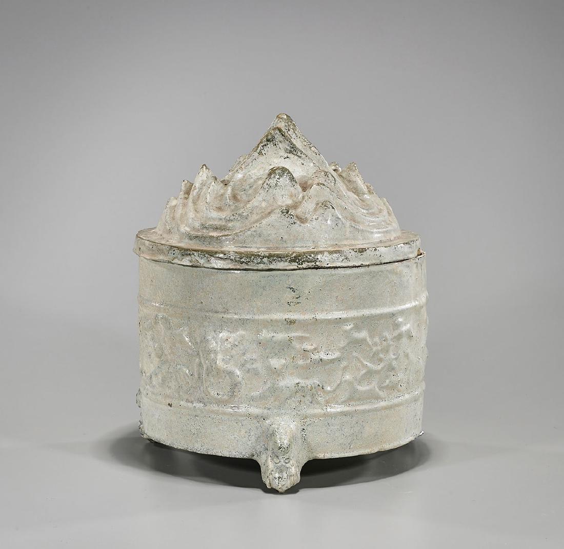 Chinese Han Dynasty Glazed Pottery 'Hill' Jar