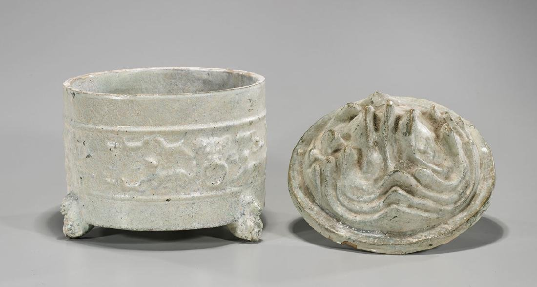 Chinese Han Dynasty Glazed Pottery 'Hill' Jar - 2