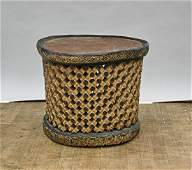 African Carved Openwork Wood Stool