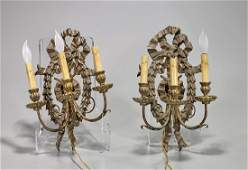 Pair Antique Italian Gilt Wood Sconces