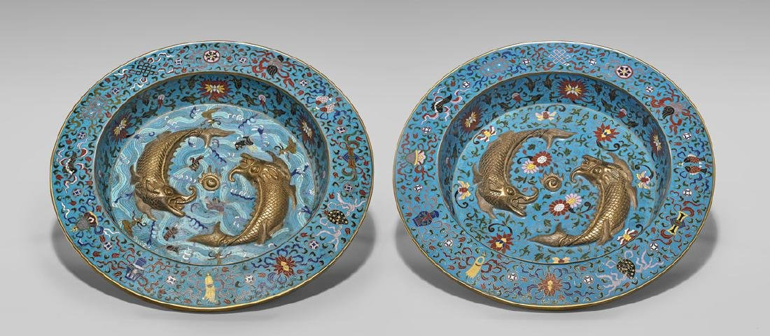 PAIR CHINESE CLOISONNE ENAMEL CHARGERS