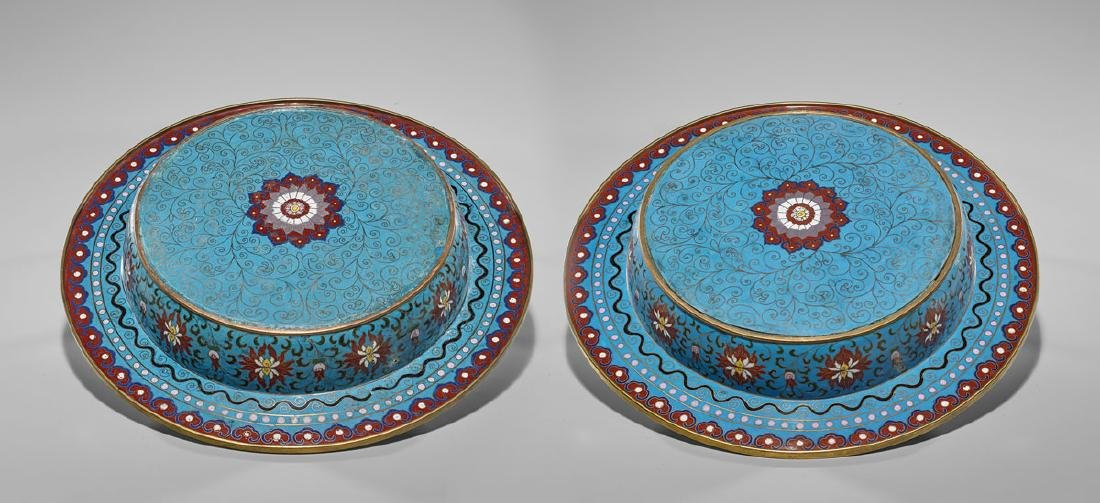 PAIR CHINESE CLOISONNE ENAMEL CHARGERS - 2