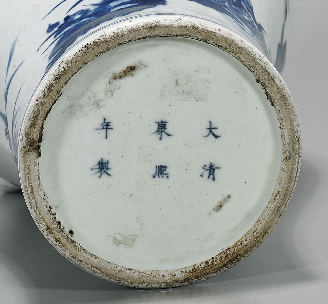 19TH CENTURY BLUE & WHITE PORCELAIN VASE - 3