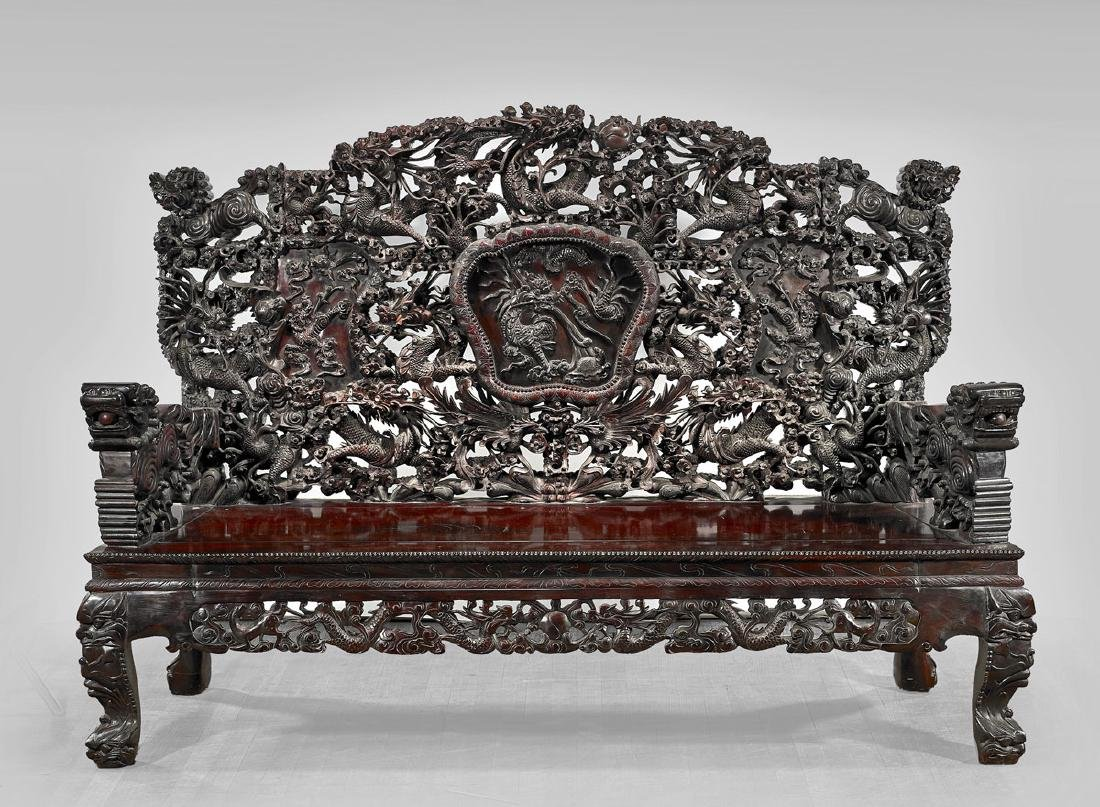 LARGE JAPANESE CARVED WOOD BENCH
