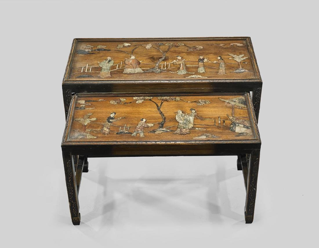 TWO APPLIQUE STONE & HARDWOOD NESTING TABLES
