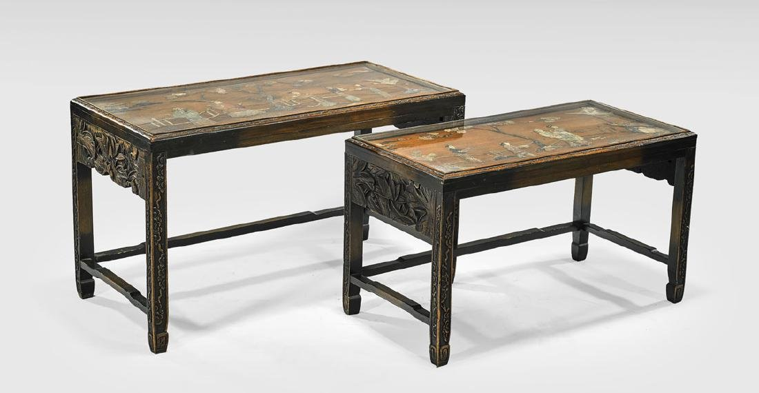 TWO APPLIQUE STONE & HARDWOOD NESTING TABLES - 2