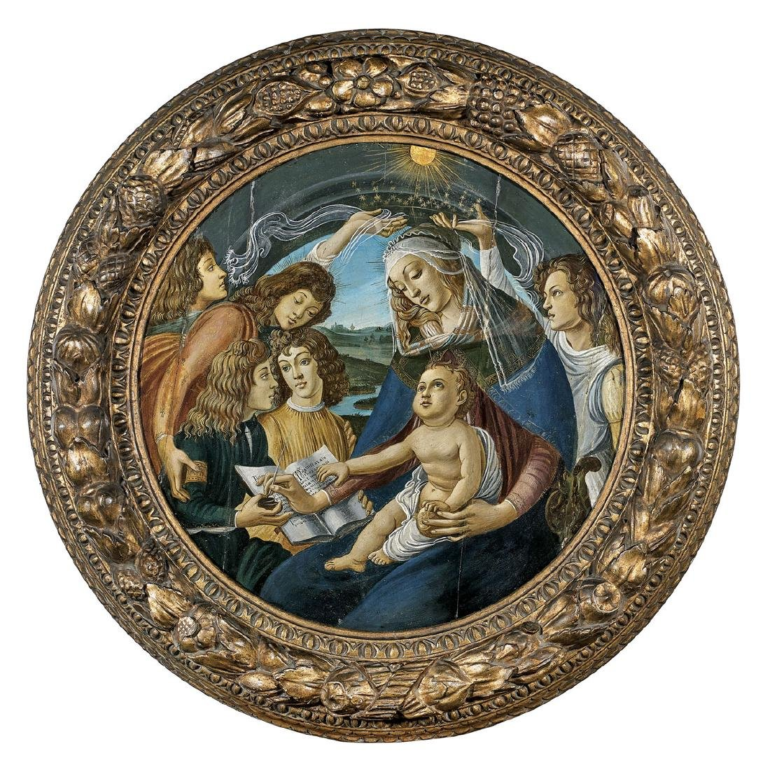 16TH CENTURY TONDO PAINTING AFTER BOTTICELLI