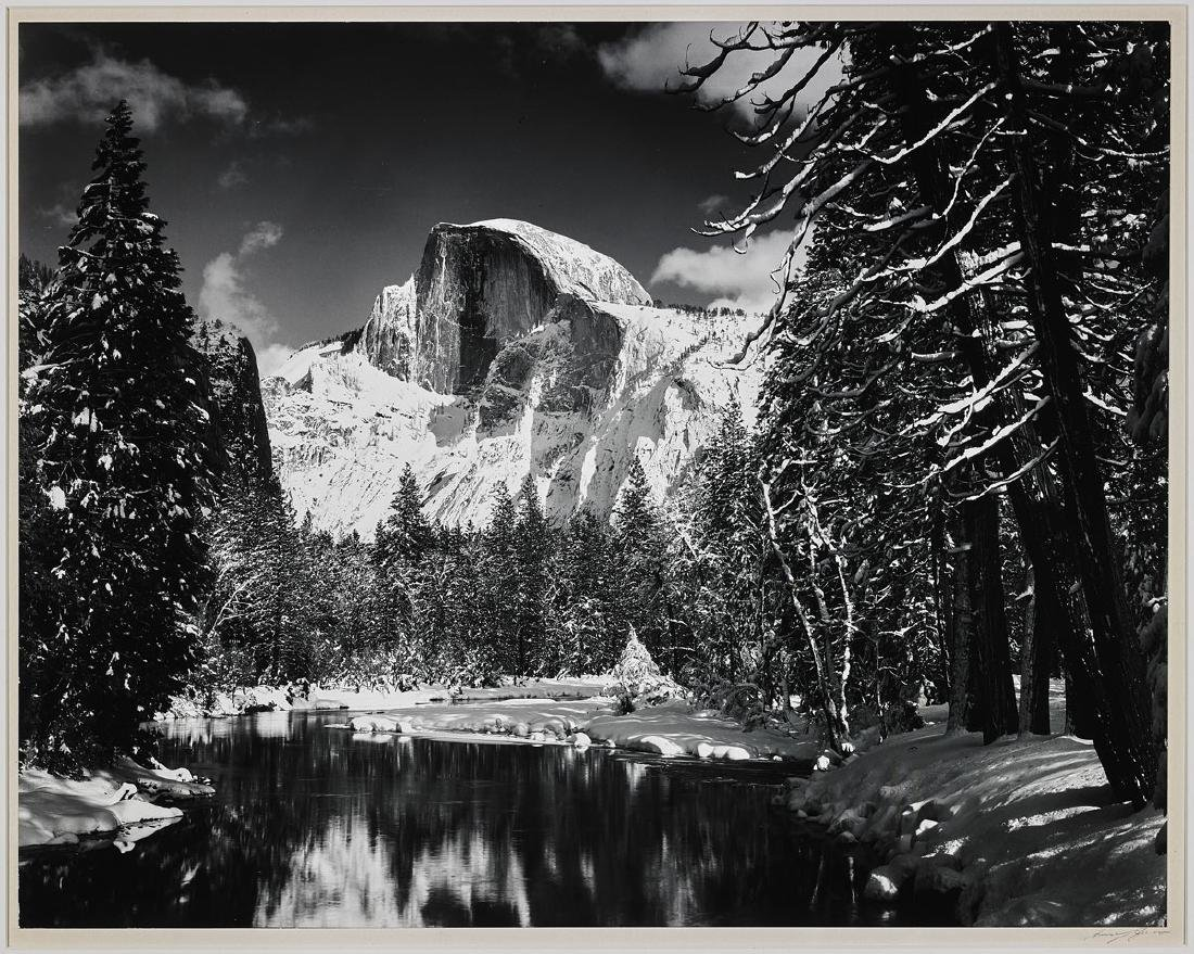 PHOTOGRAPH BY ANSEL ADAMS: Half Dome, Merced River,