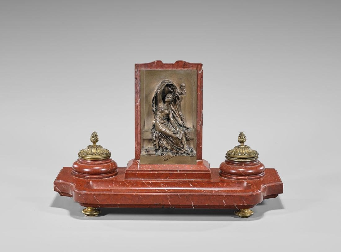 FRENCH BRONZE & ROUGE MARBLE INK STAND