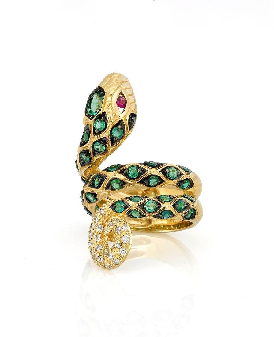 EMERALD, DIAMOND & 18K GOLD 'SNAKE' RING