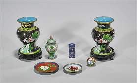 Group of Seven Chinese Cloisonne Enamel Pieces