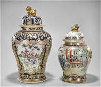 Two Chinese Enameled Porcelain Covered Jars