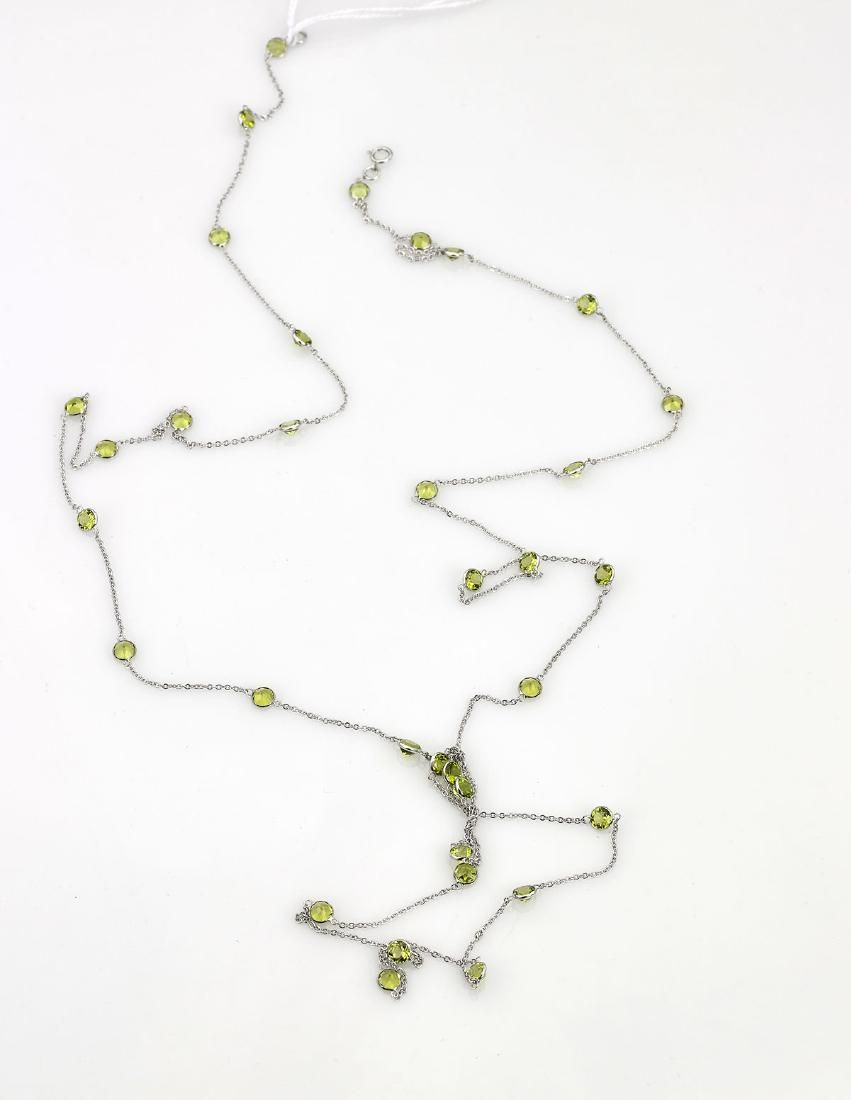18K White Gold Peridot Necklace