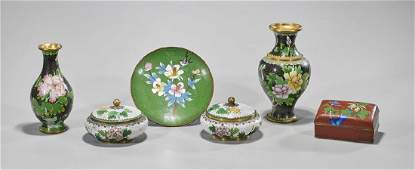 Group of Six Chinese Cloisonne Enamel Pieces