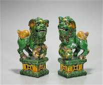 Pair Chinese Sancai Glazed Pottery Fo Lions