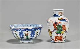 Two Chinese Enameled Blue  White Porcelains