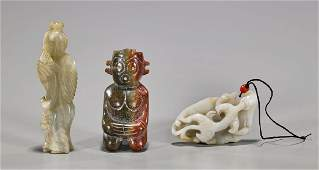 Three Chinese Carved Jade Or Hardstone Pieces