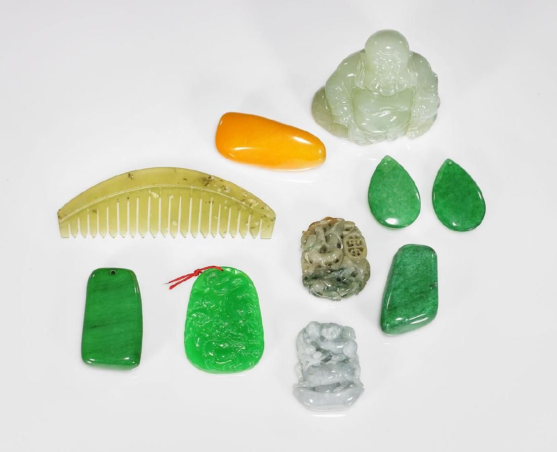 Group of Various Chinese Carved Jade, Hardstone &