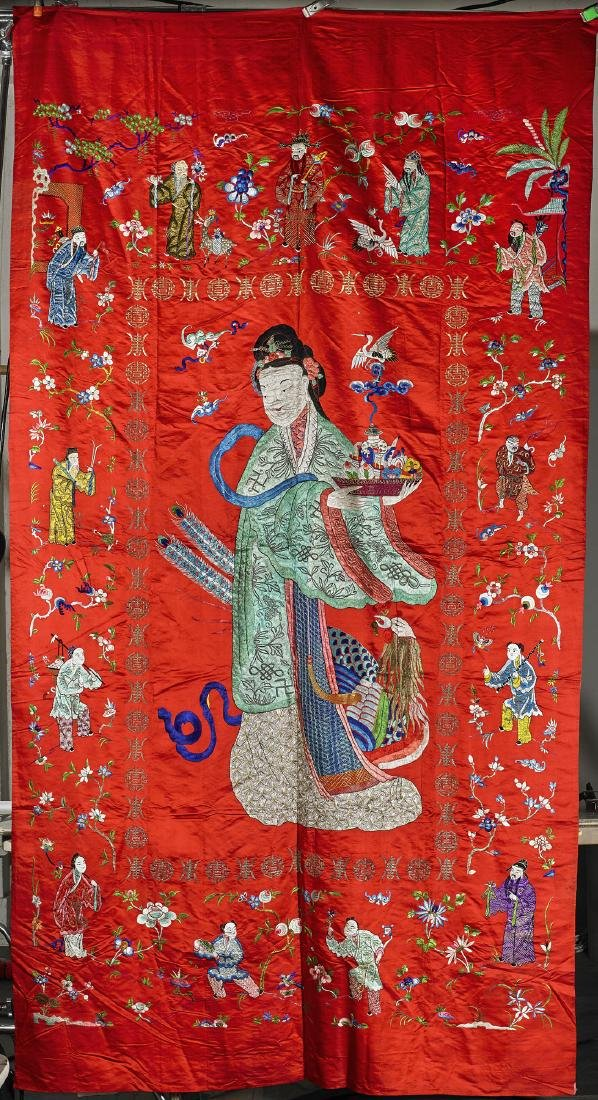 Large Chinese Embroidered Silk Panel