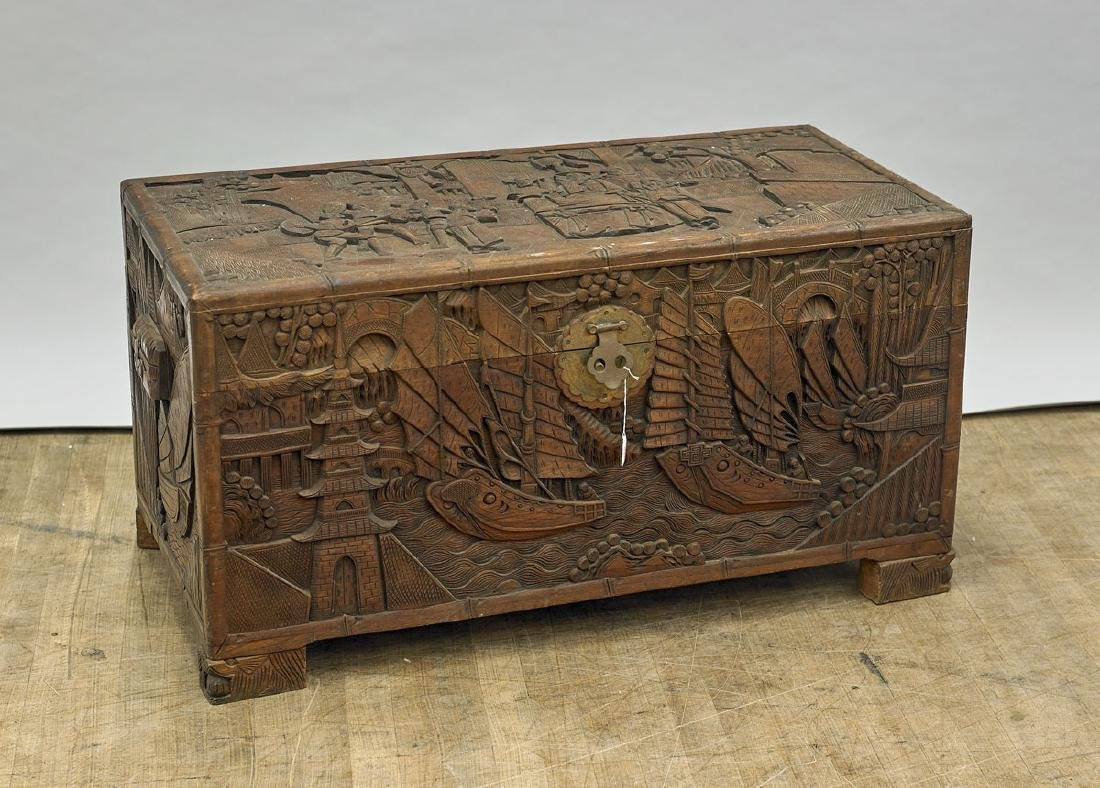 Chinese Carved Wood Blanket Chest