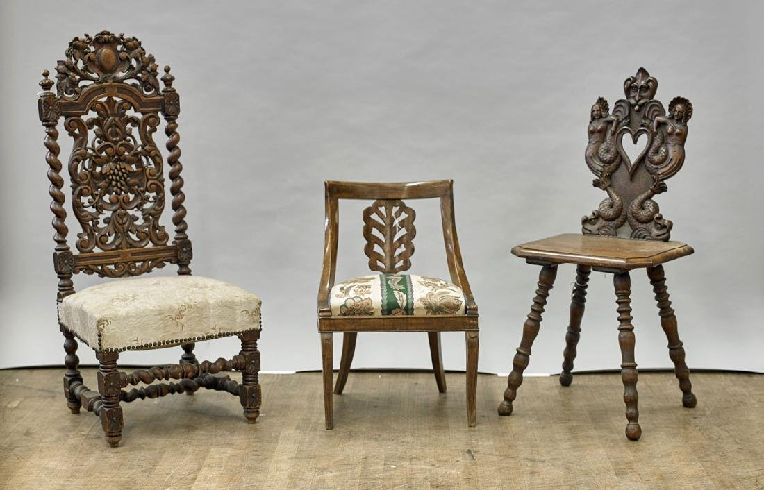 Three Carved Wood Chairs