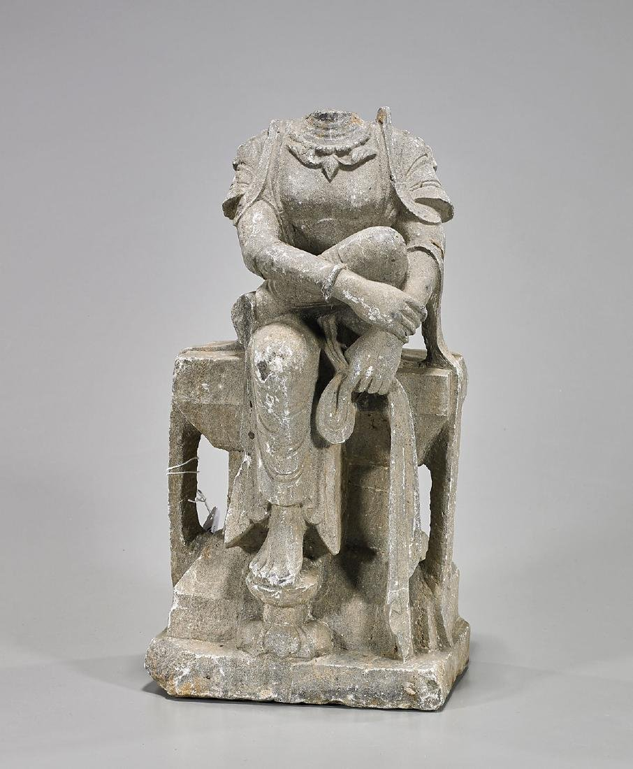 Chinese Tang-Style Stone Seated Figure