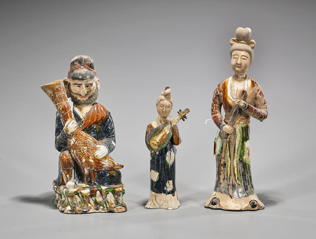 Three Tang-Style Glazed Pottery Figures