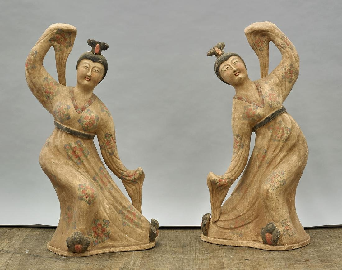 Pair Tall Han-Style Painted Pottery Dancers