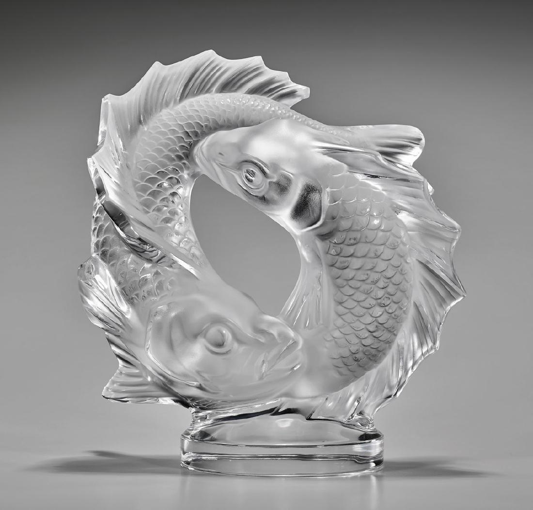 LALIQUE GLASS 'DOUBLE FISH' SCULPTURE