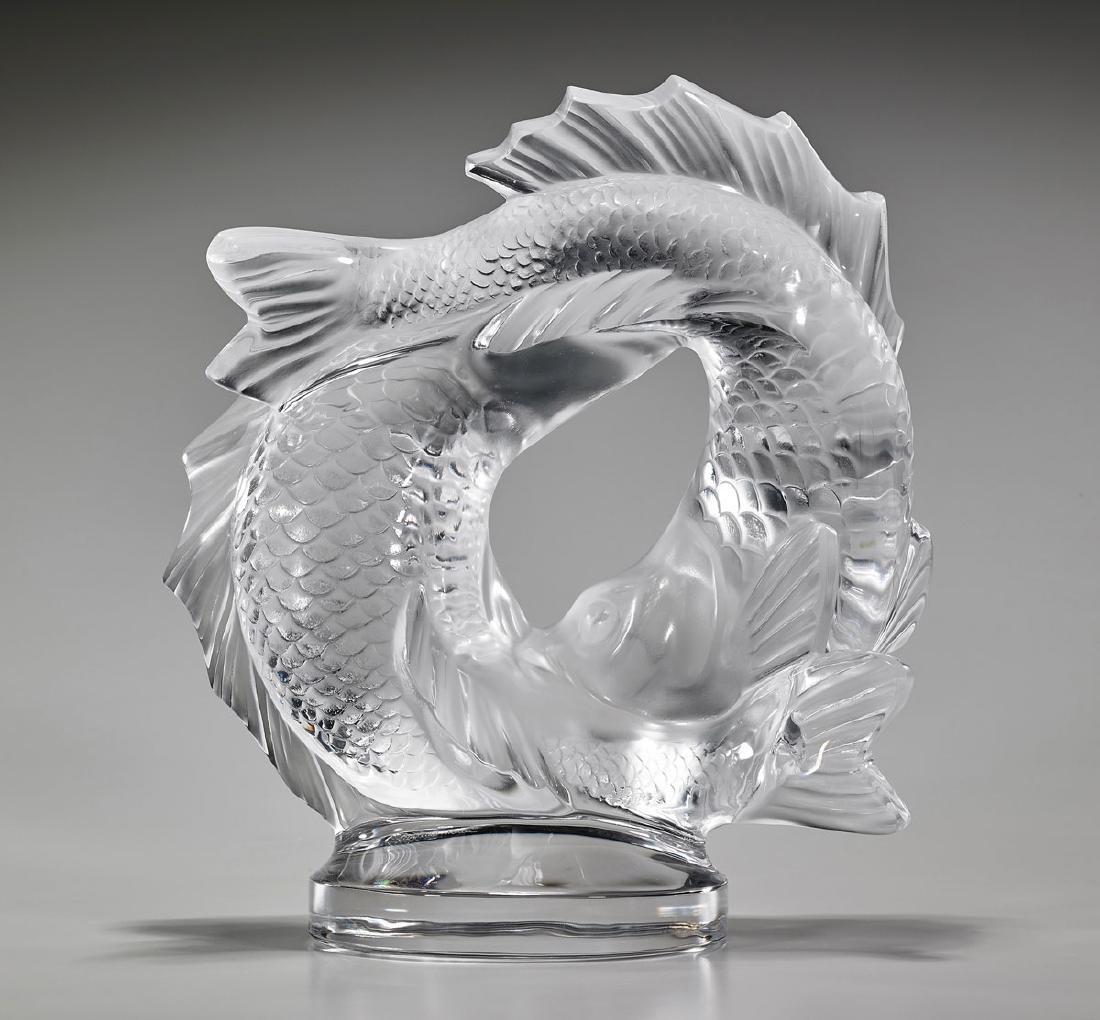 LALIQUE GLASS 'DOUBLE FISH' SCULPTURE - 2