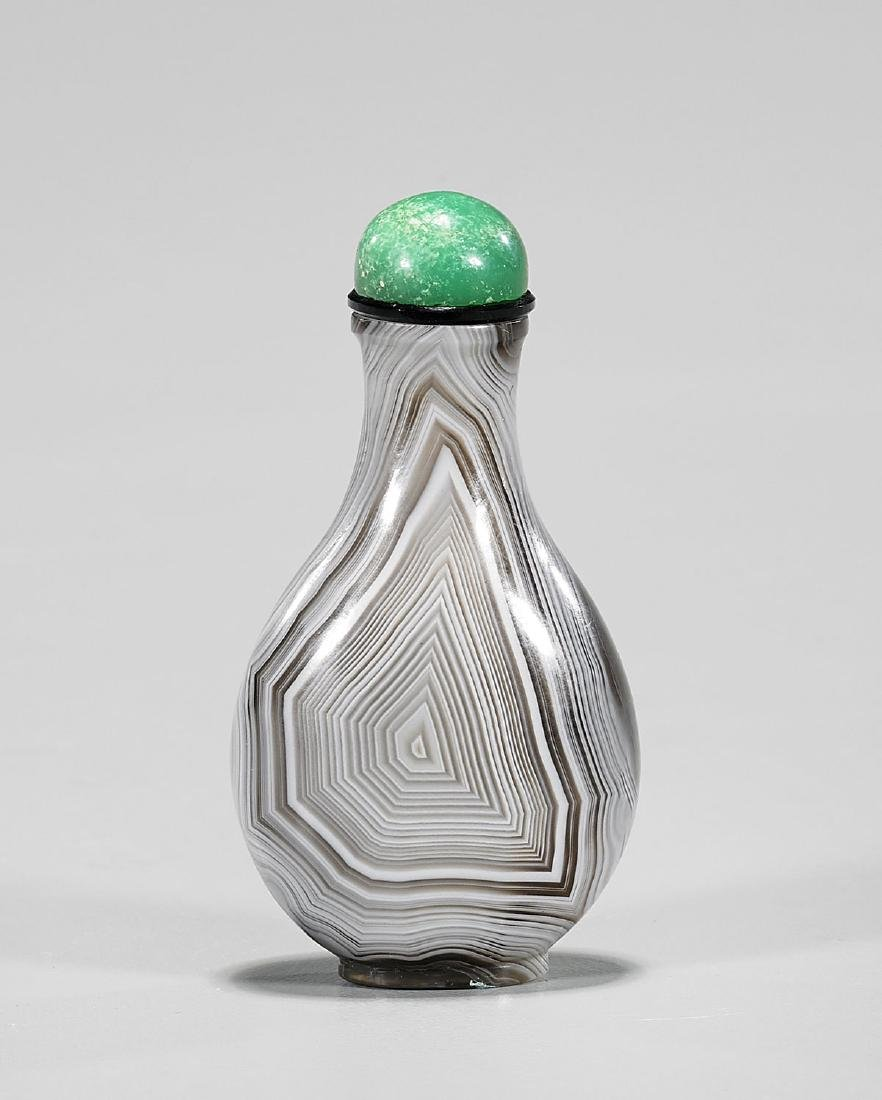BANDED AGATE SNUFF BOTTLE - 2