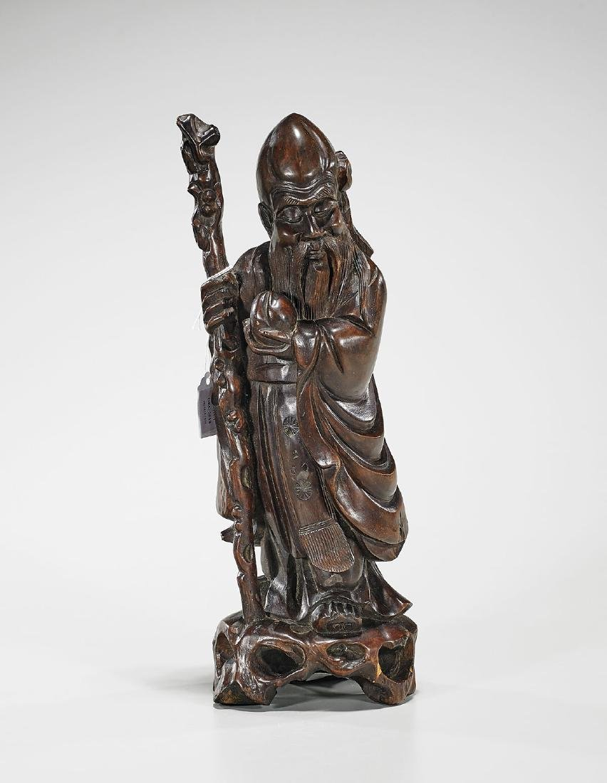 Chinese Carved Wood Figure of Shoulao