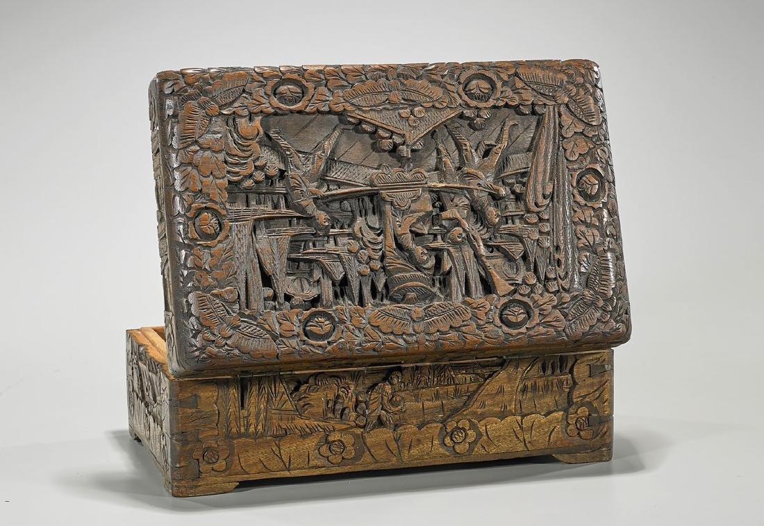 Chinese Carved Wood Box - 2