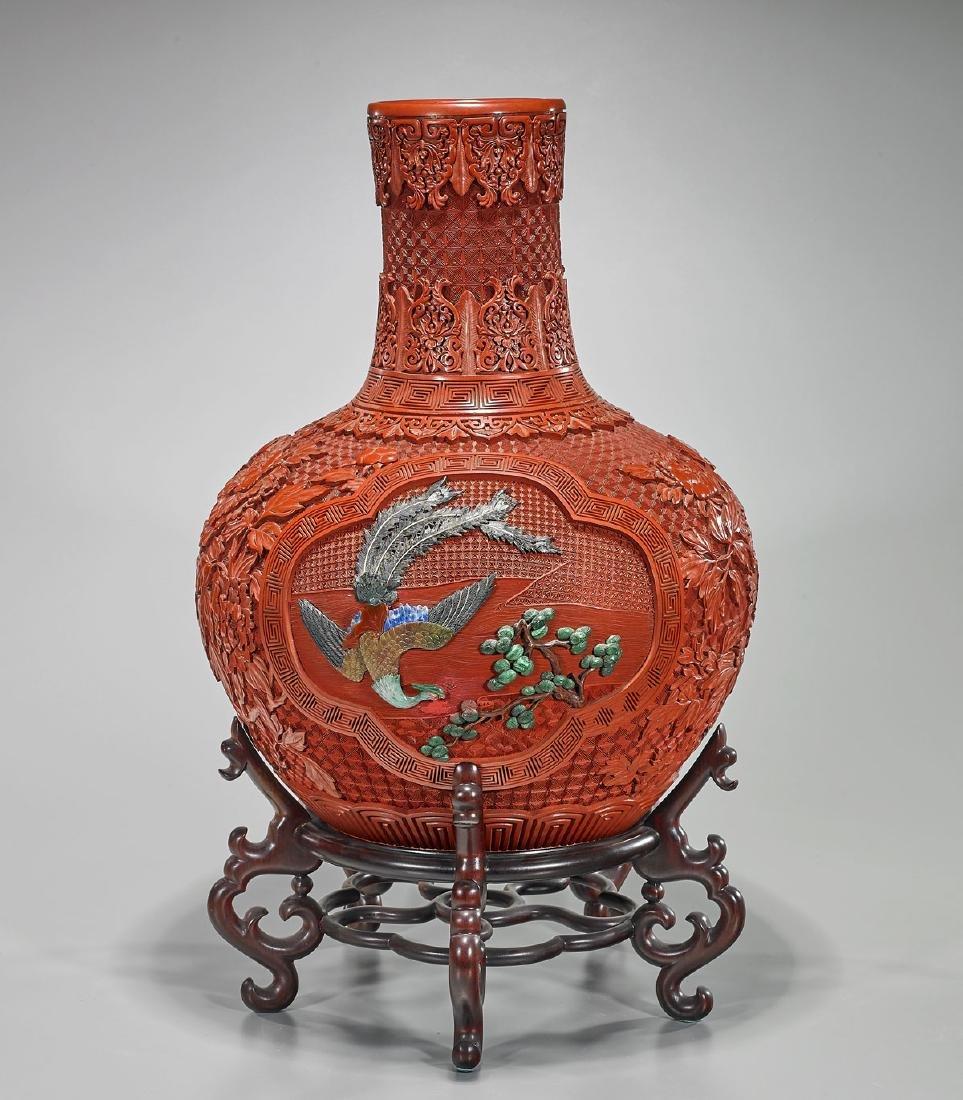 Large Chinese Cinnabar-Like Vase - 2