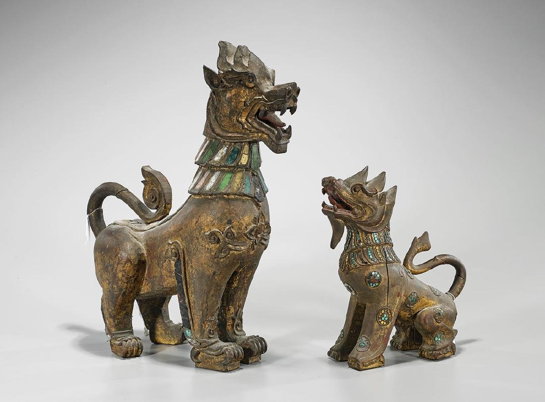 Two Southeast Asian Gilt & Carved Wood Lions