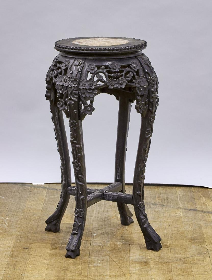 Antique Chinese Marble-Inset Carved Hardwood Pedestal